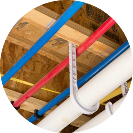 PEX piping installed in ceiling of newly constructed building