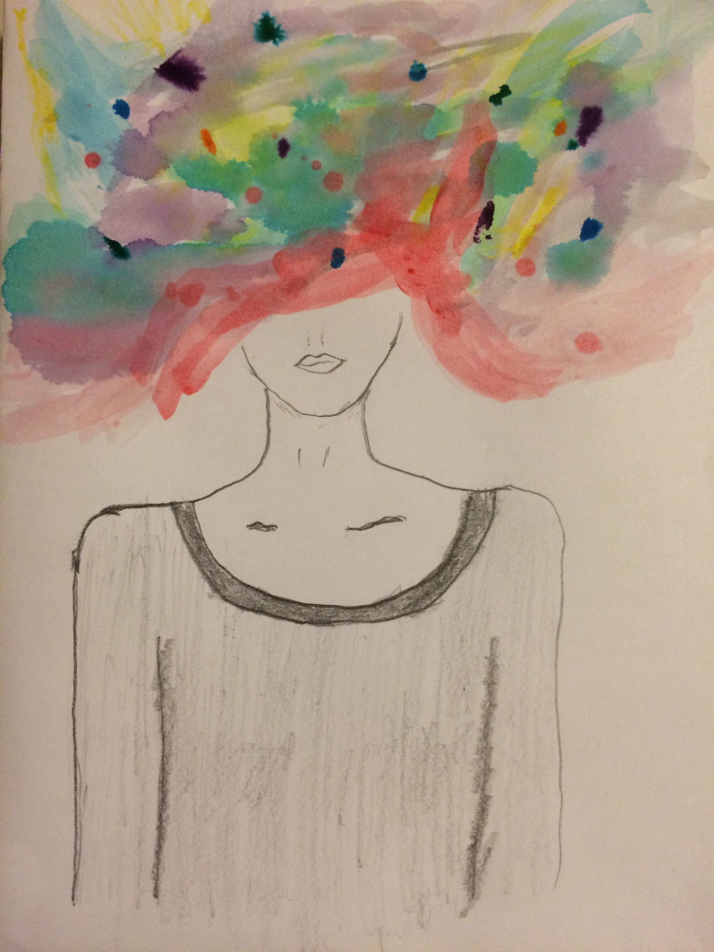 Confusion-a woman with swirling colors for a head.