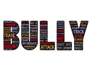 The word bully with other words written on it.