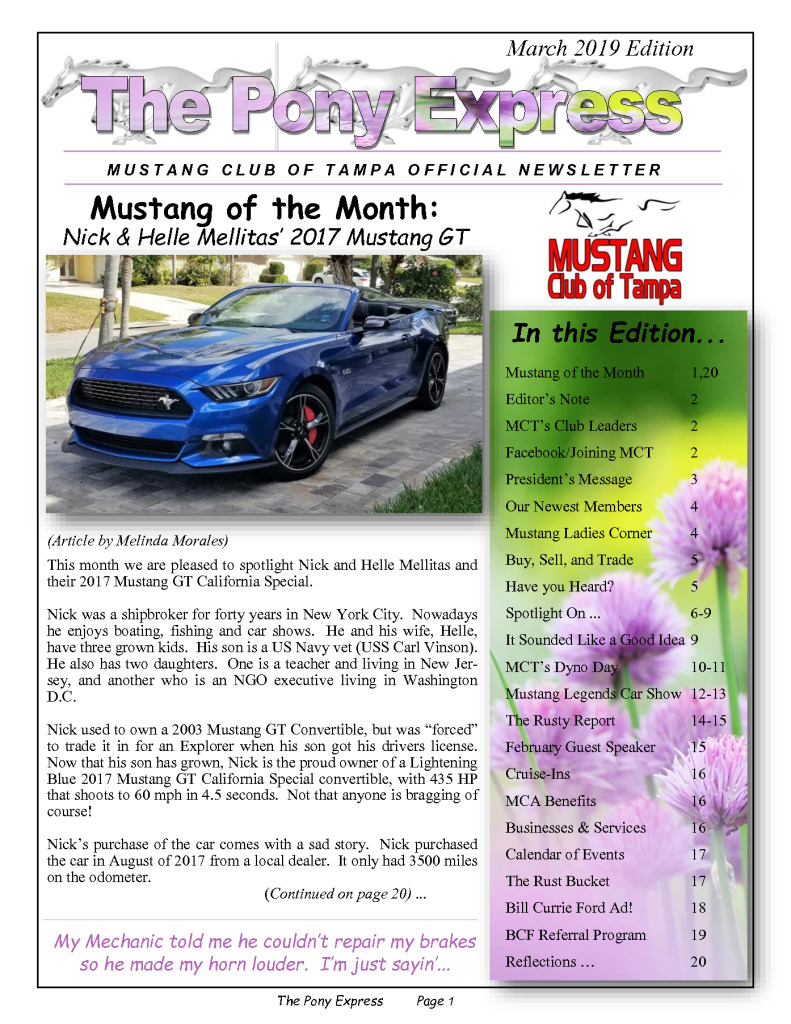 thumbnail of MCT Newsletter – March 2019