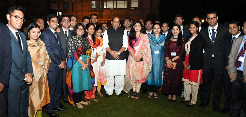 Union Home Minister, Rajnath Singh in a group photograph with IAS probationers at the Lal Bahadur Shastri National Academy of Administration, at Mussoorie