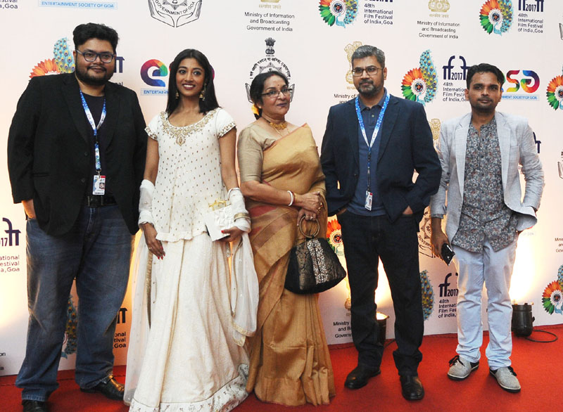 Director Pratim Dasgupta, Producer Tushar Shah, Actress Paoli Dam, Actress Mamata Shankar cast & crew of the film MAACHER JHOL, at the Red Carpet, during the 48th International Film Festival of India
