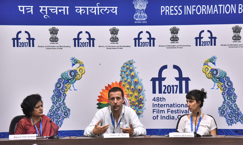 Director Andrea De Sica and the Producer,  Sandra De Fonsec of the film CHILDREN OF THE NIGHT, at a press conference, during the 48th International Film Festival of India