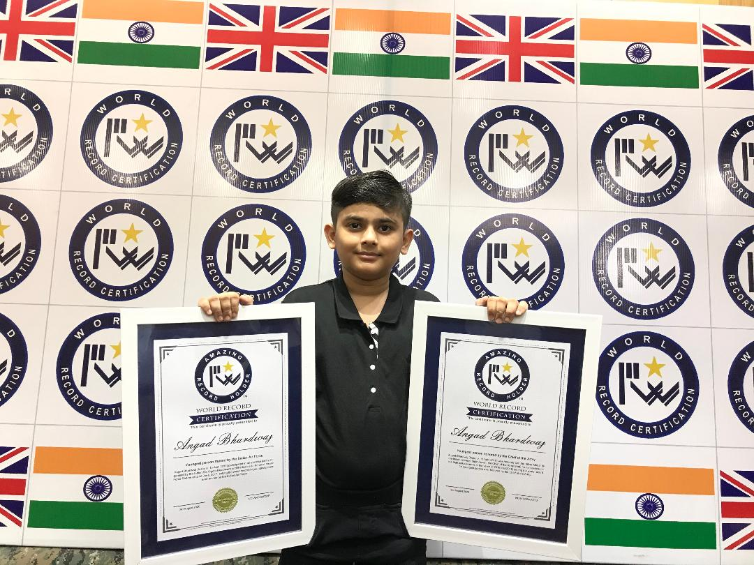 10 YEARS ANGAD BHARDWAJ SETS TWO AMAZING WORLD RECORDS IN THE GUINNESS WORLD RECORD