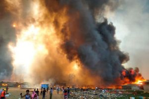 Several dead, thousands of homes burn as fire sweeps Rohingya camp