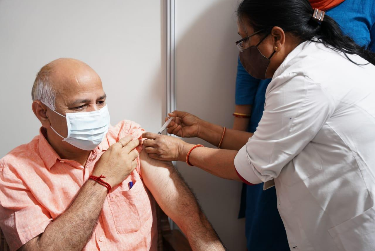 Dy C M Manish Sisodia along with his family receives first dose of COVID-19 vaccine