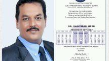 Dr. Harjinder bags International Recognition for his Humanitarian services