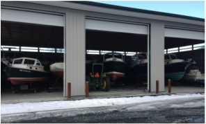 Your Boat stays dry and protected from the Winter Elements in our Boat Storage Buildings
