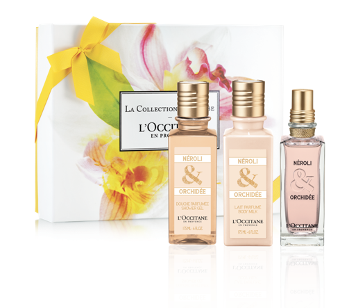 NEW! Neroli & Orchid Collection ($85): A delicious fruity floral scent of Neroli & Orchid that conveys affection with Tunisian Neroli (orange blossom essence) and White Orchid absolute from Madagascar, in a Eau de Toilette, soothing Body Milk, and refreshing Shower Gel.