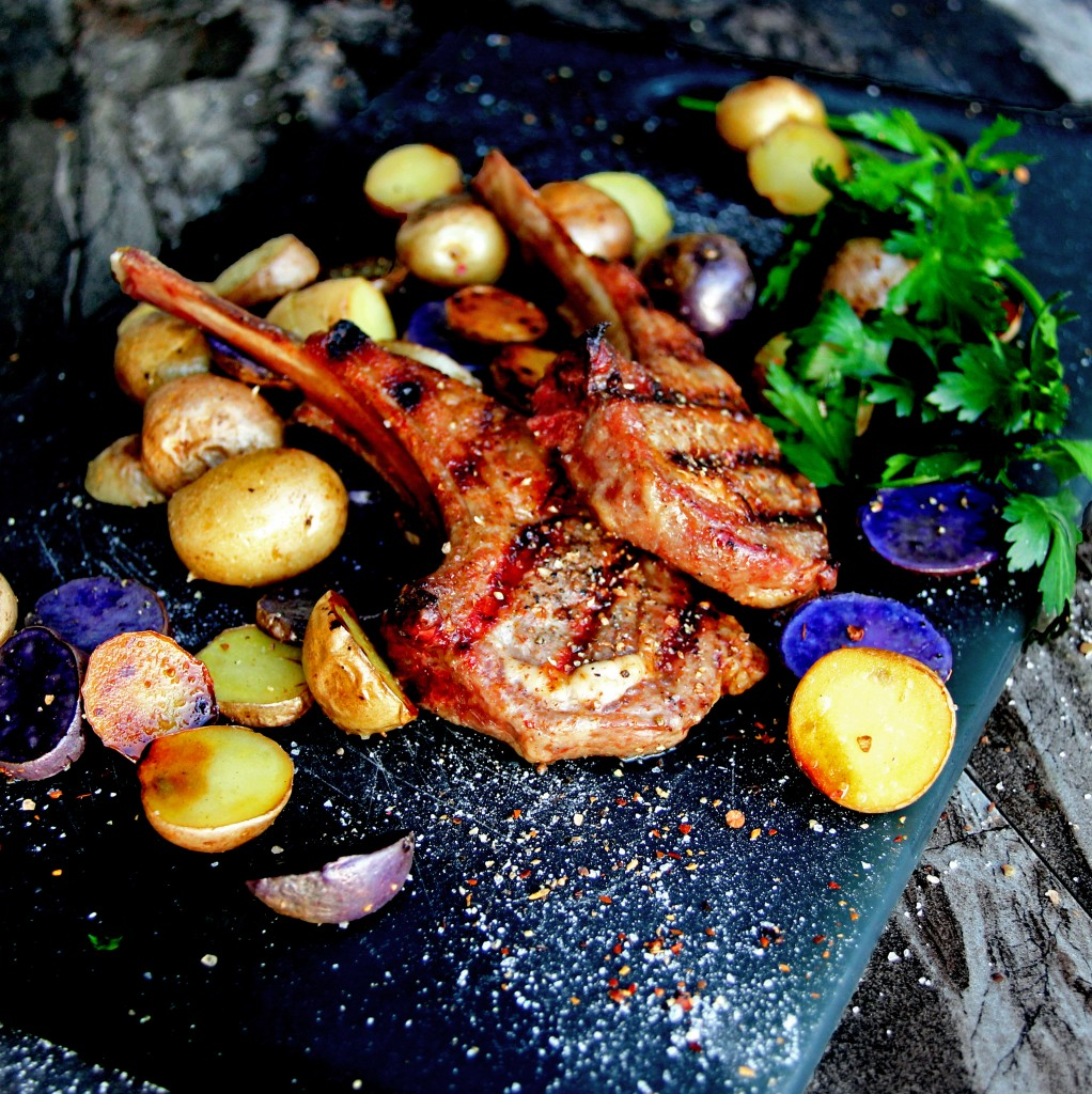Herb & Spice Grilled Lamb Chops with Roasted Peruvian Potatoes