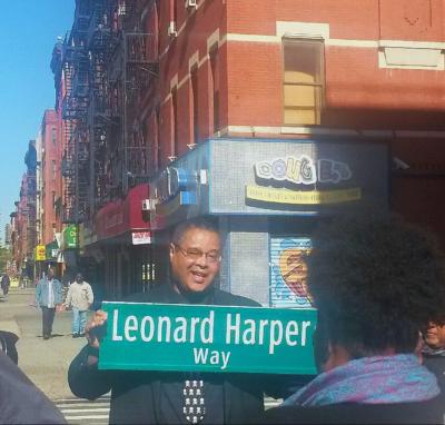 Leonard Harper street sign
