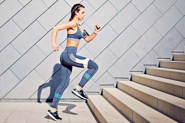 girl stair jogging