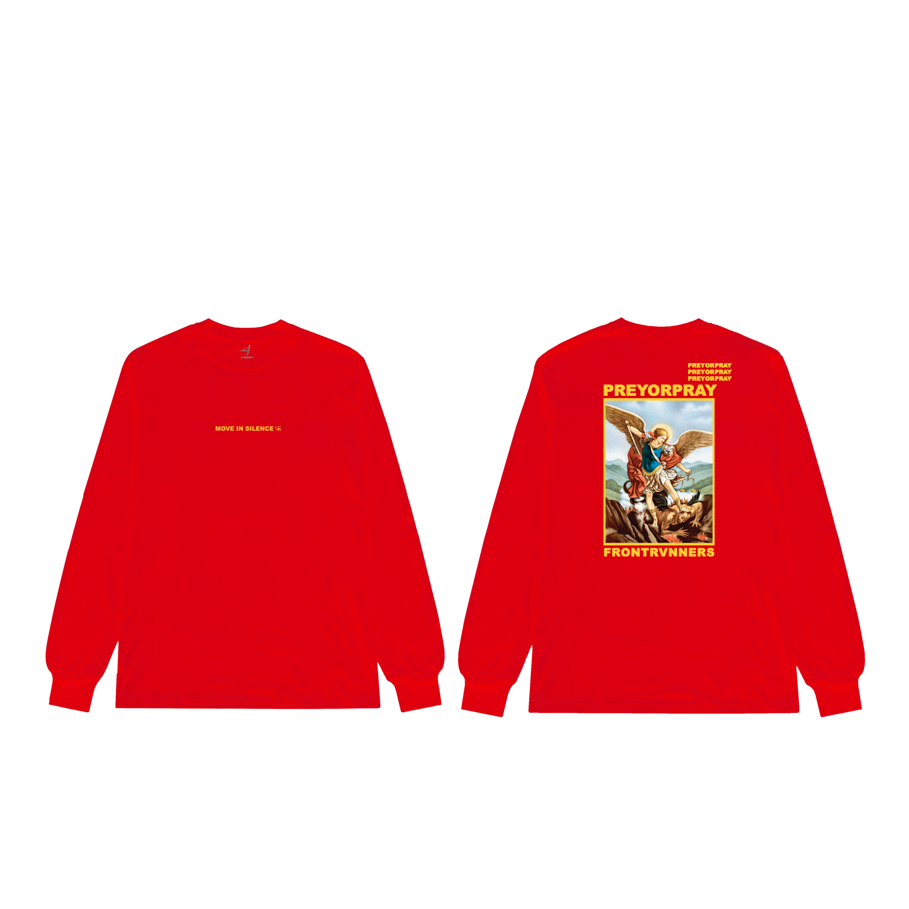 Prey or Pray Red Long Sleeve Front and Back