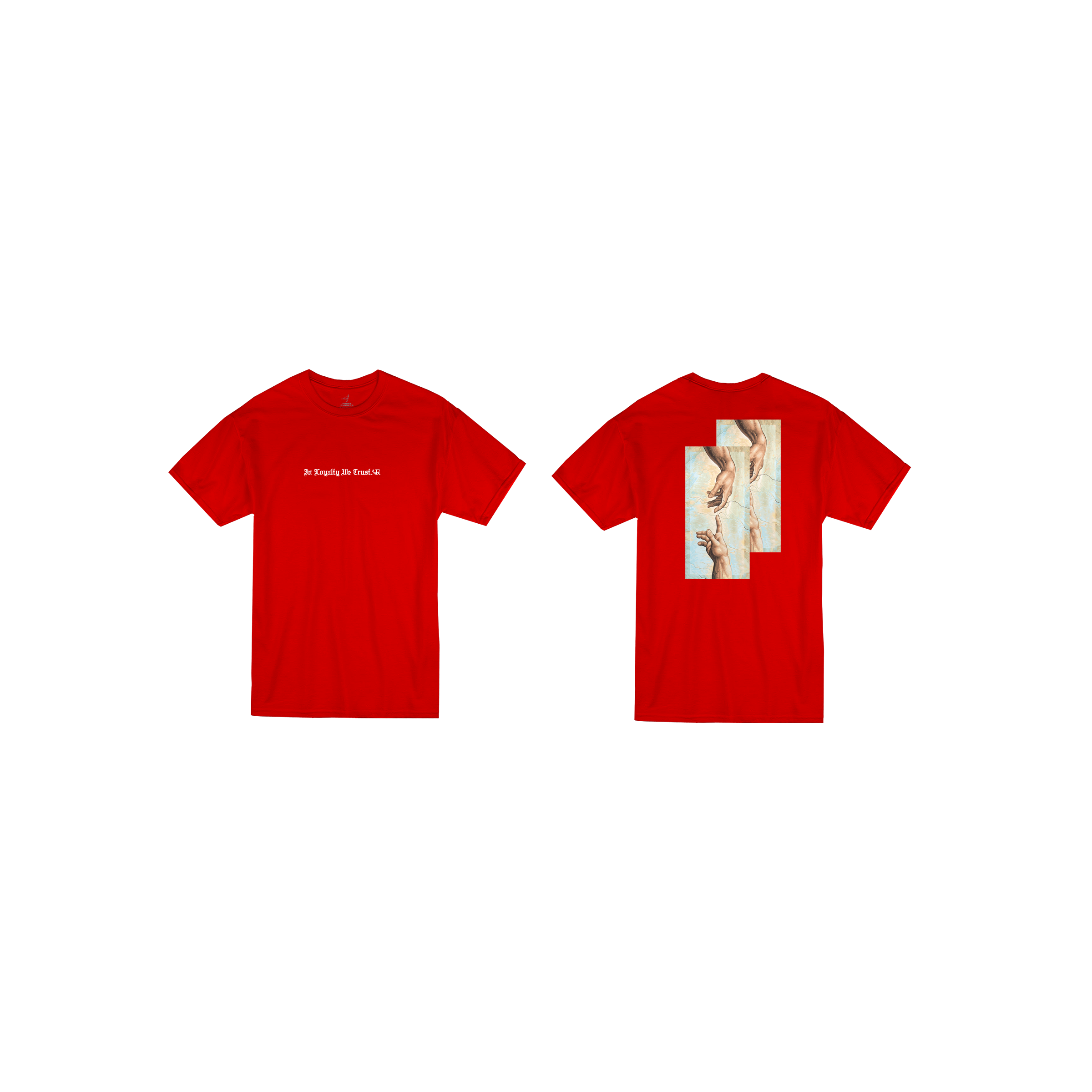 In Loyalty We Trust Short Sleeve Red Front and Back