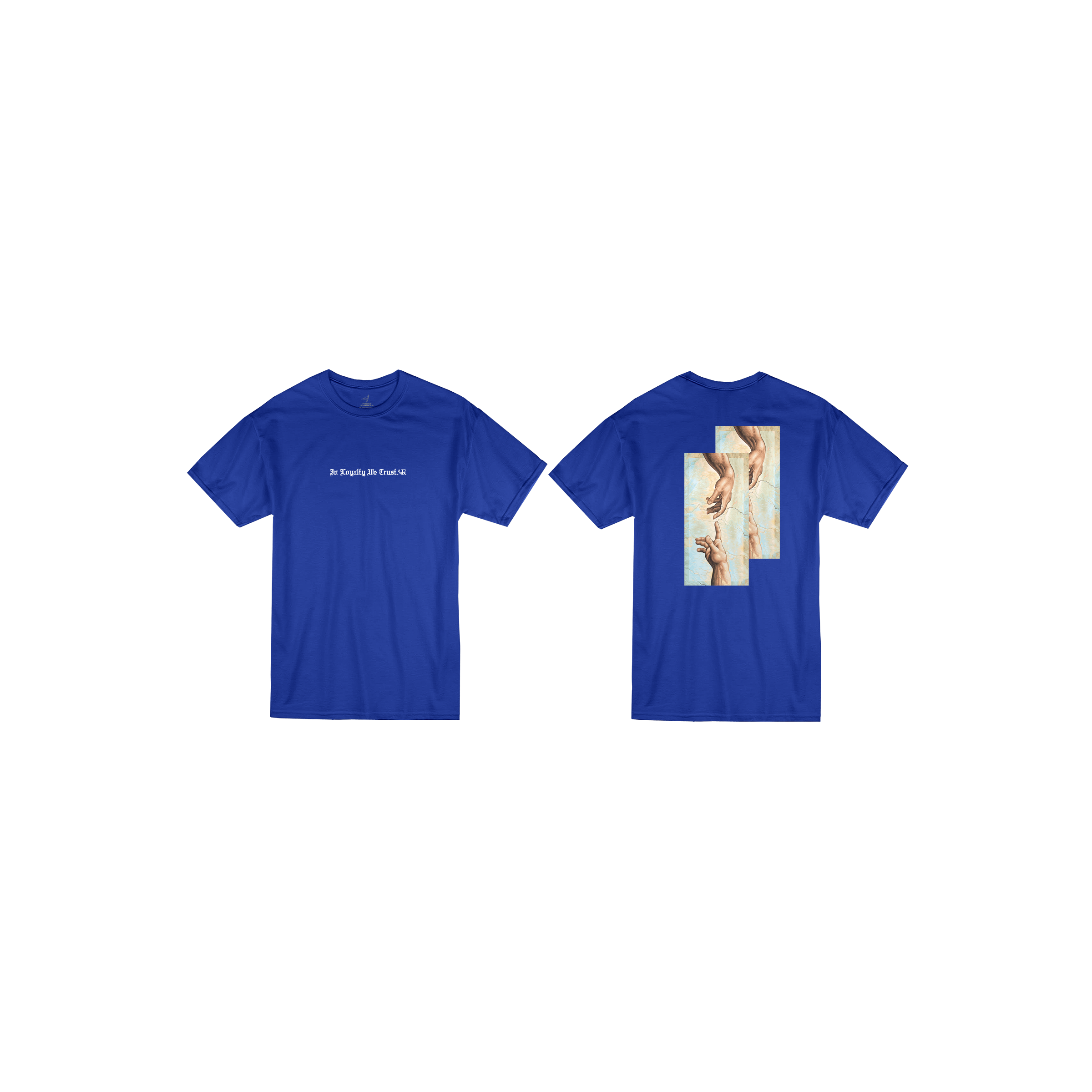 In Loyalty We Trust Short Sleeve Royal Blue Front and Back