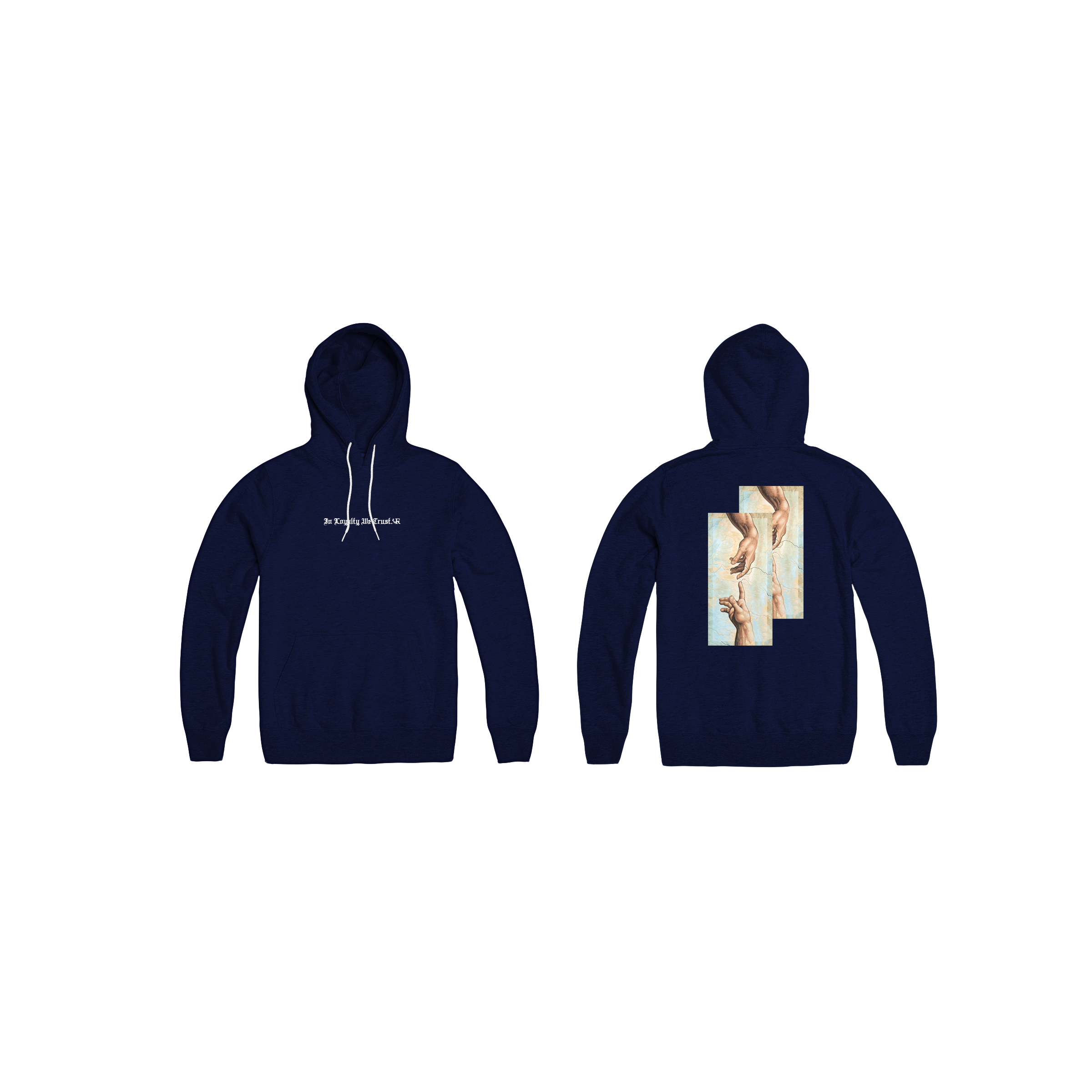In Loyalty We Trust Hoodie Navy Front and Back
