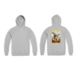 Prey or Pray Hoodie Grey Front and Back