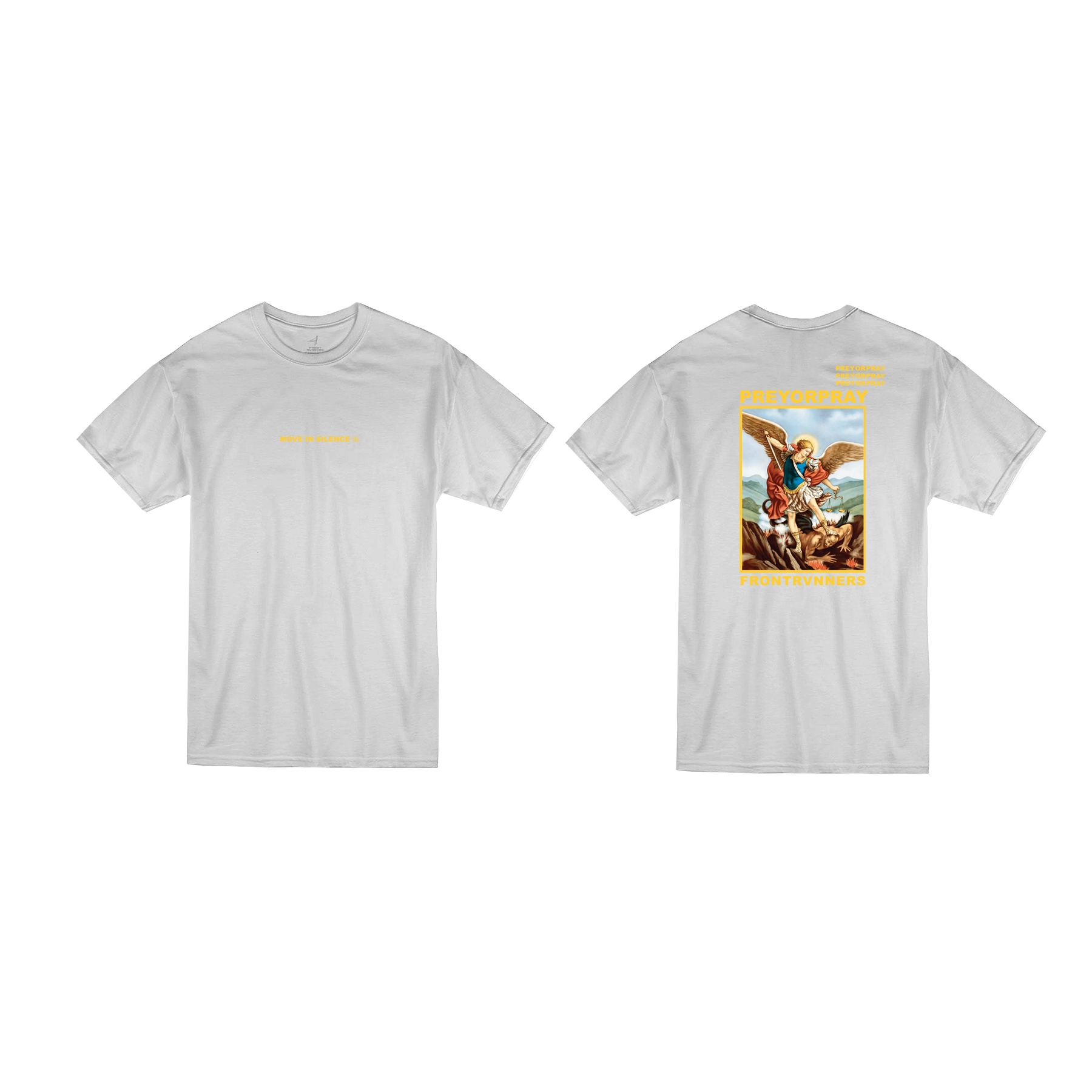 Prey or Pray T Shirt White Front and Back