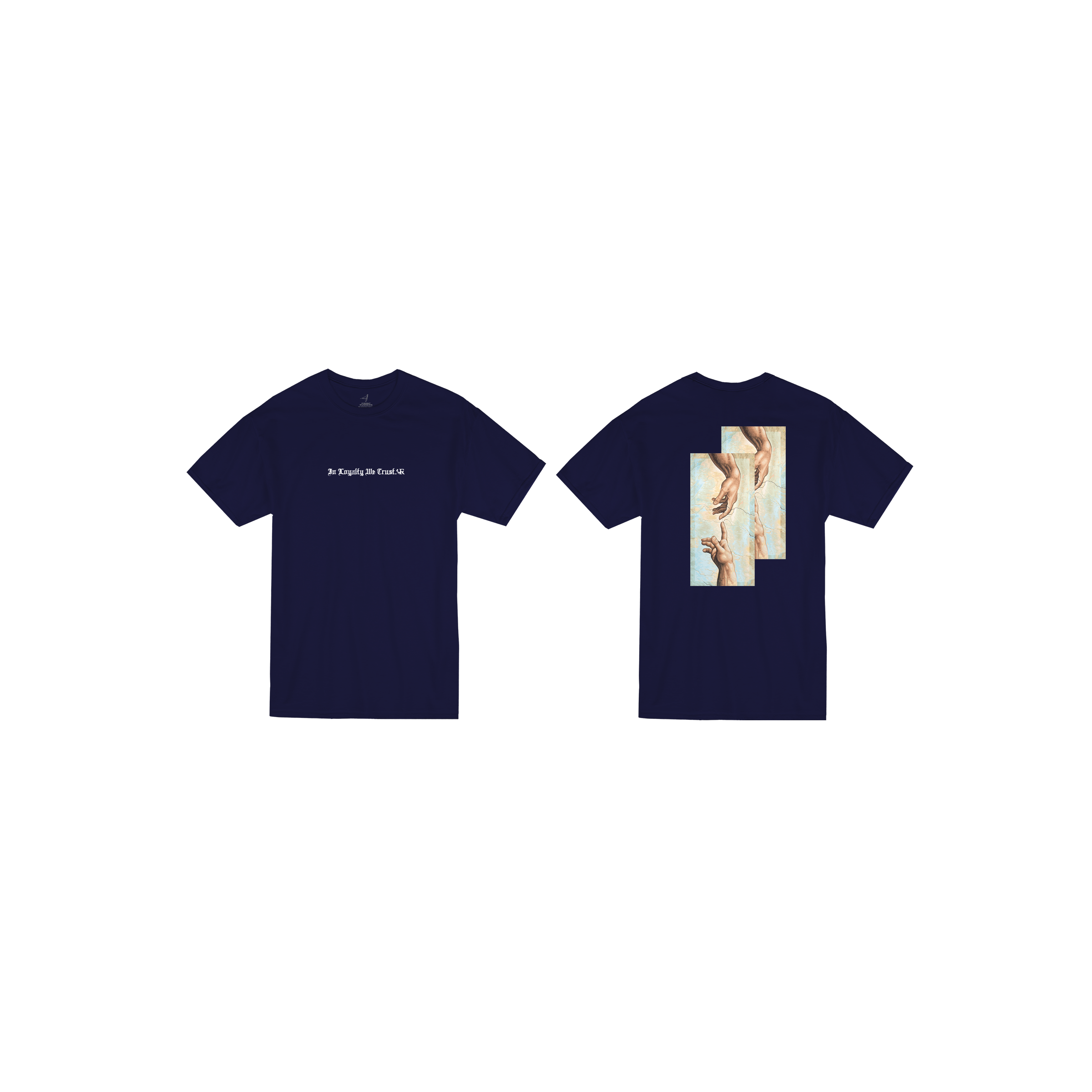 In Loyalty We Trust Short Sleeve Navy Blue Front and Back