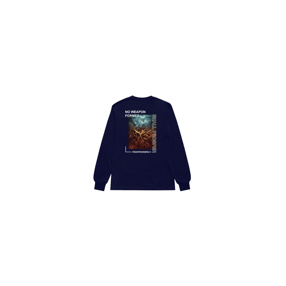No Weapon Formed Shall Prosper Long Sleeve Navy Back