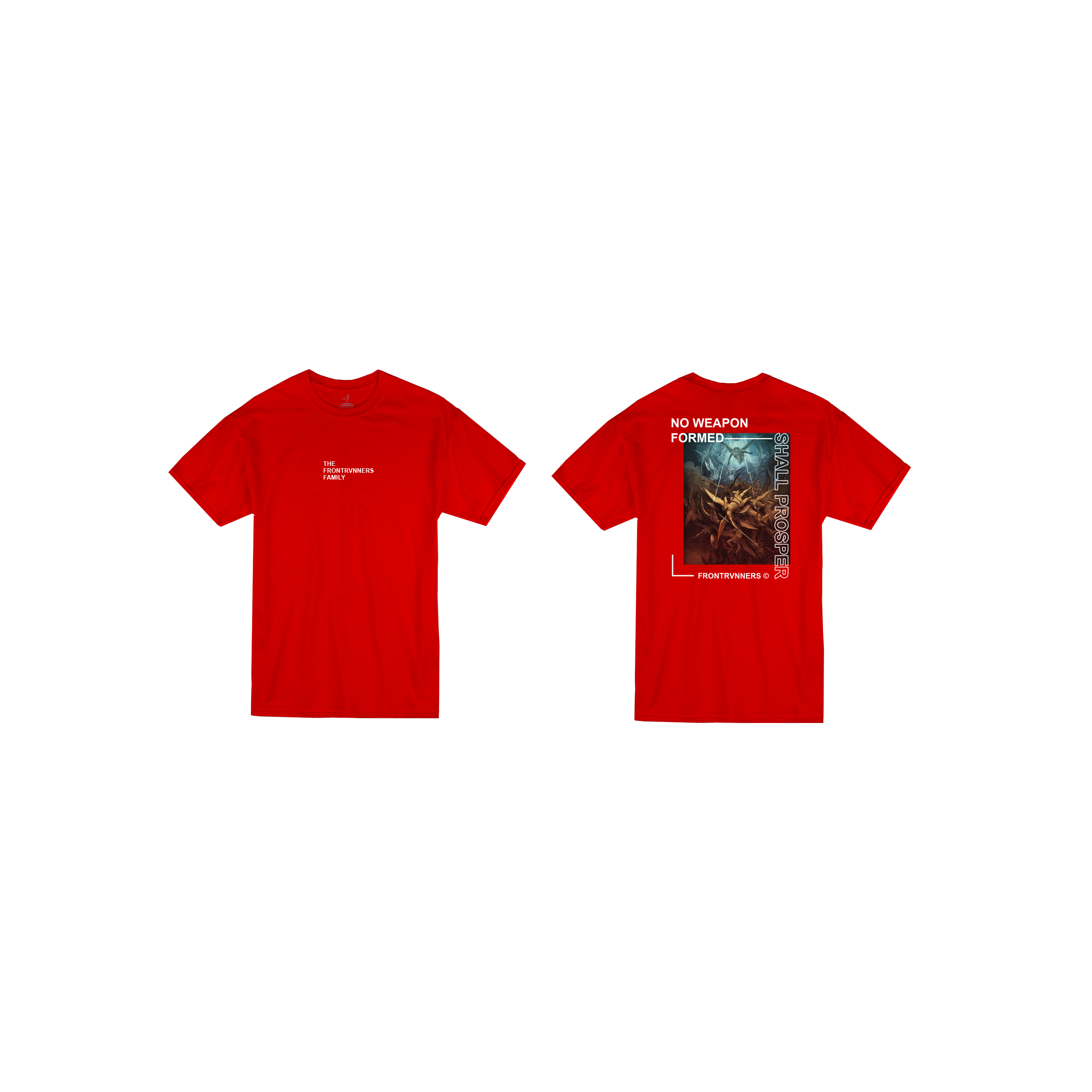 No Weapon Formed Shall Prosper Red Front Back Short Sleeve Sleeve