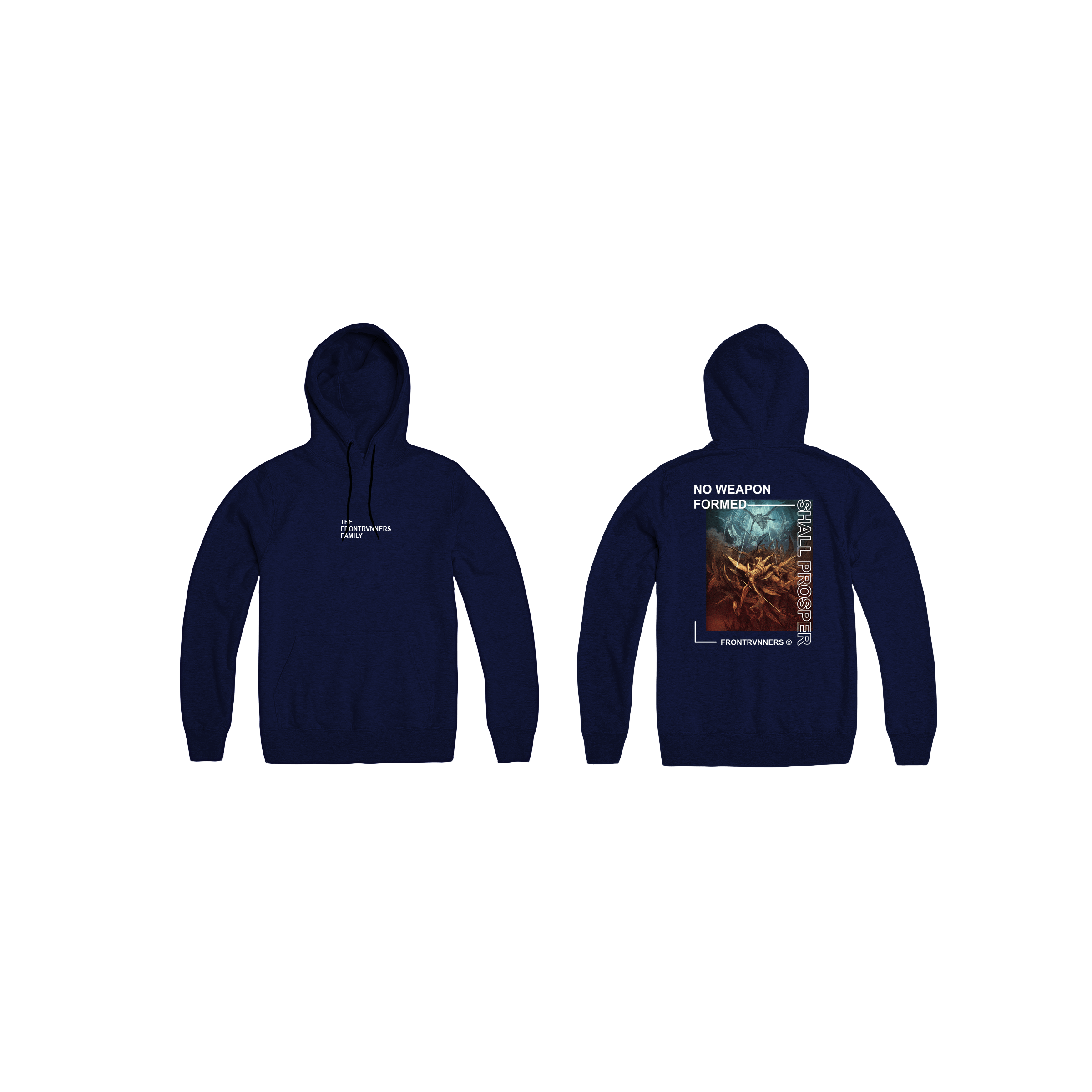 No Weapon Formed Shall Prosper Navy Front Back Hoodie