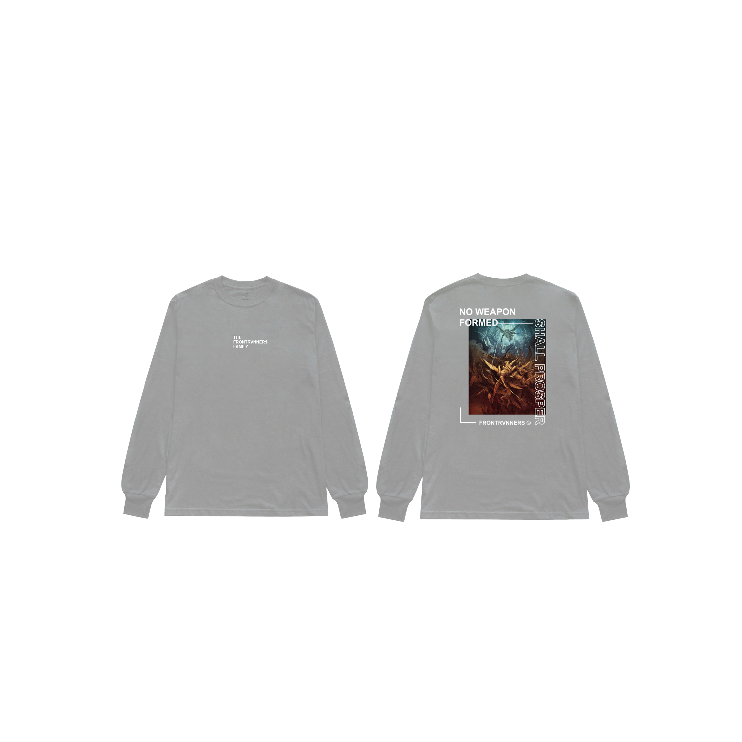 No Weapon Formed Shall Prosper Long Sleeve Grey Front Back