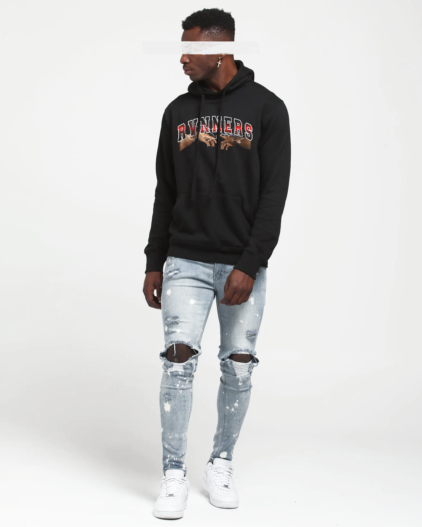 Rvnners Red Black Hoodie Front Full Body