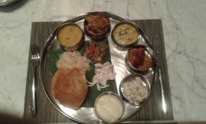 A thali with Maharashtrian specialities at MoMo Café  at Courtyard by Marriott Pune Chakan