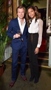 "Louis XIII Global Executive Director Ludovic du Plessis and actress Naomie Harris at the Louis XIII ""100 Years"" party in London. (PRNewsFoto/LOUIS XIII COGNAC)"