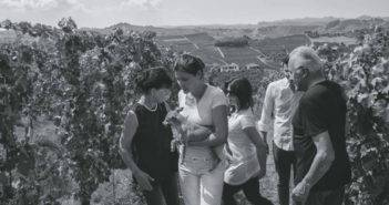 The Gaja family pictured in the vineyard