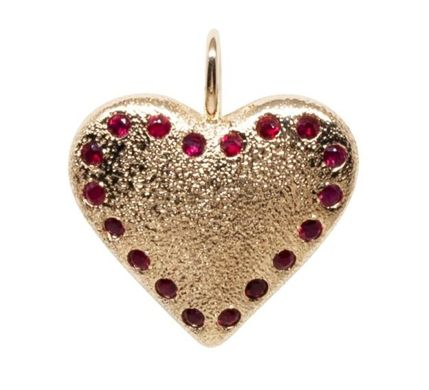 Textured heart pendant in 14k yellow gold with 0.72 ct. t.w. rubies, $1,990; email info@imperfectgrace.co at Imperfect Grace for purchase.**