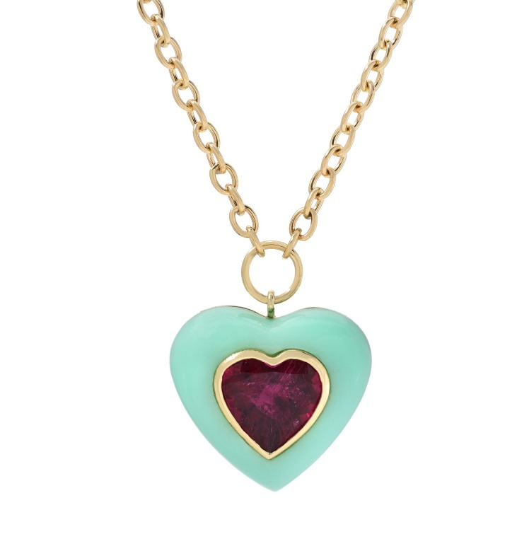 Lollipop Pendant necklace in 14k yellow gold with a chrysoprase heart and inset rubellite heart, $6,085; email meaghan@forfuturereference.com at Retrouvaí for purchase.