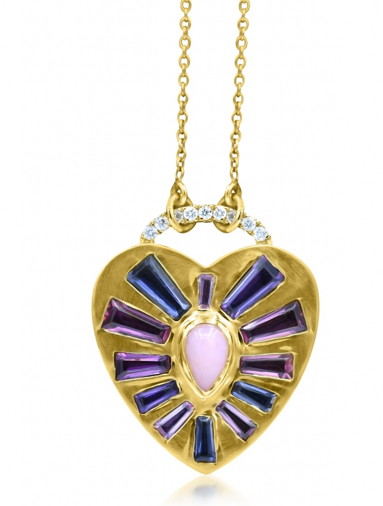 Heart Burst necklace in 18k yellow gold with pink opal, pink sapphire, pink tourmaline, iolite, amethyst, raspberry rhodolite garnet, and diamonds, $3,400; email theresa@theresakazjewelry.com at Theresa Kaz Jewelry for purchase.