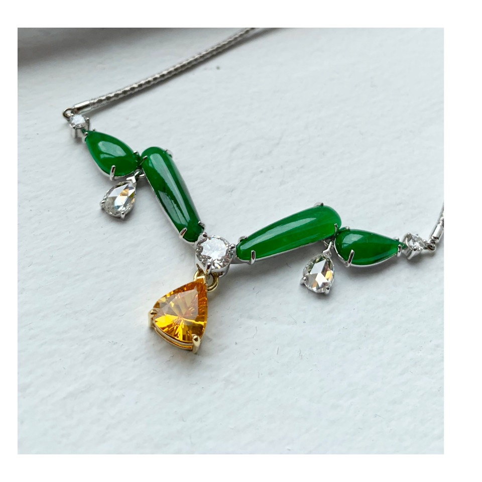 Necklace in 18k white gold with untreated jadeite cabochons and a removable yellow sapphire and 2.32 cts. t.w. rose-cut and brilliant-cut diamonds by T. Foster & Co.