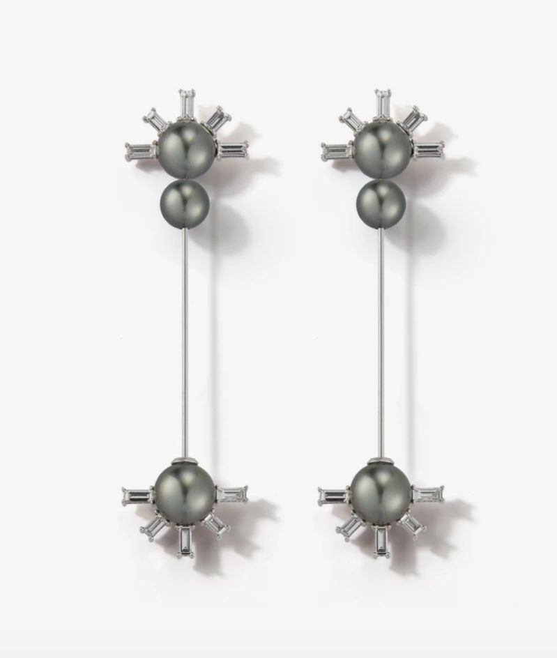 Kanzashi Stick earrings in 18k white gold with Tahitian pearls and 2.46 cts. t.w. baguette-cut diamonds, $28,000; available online at Mizuki