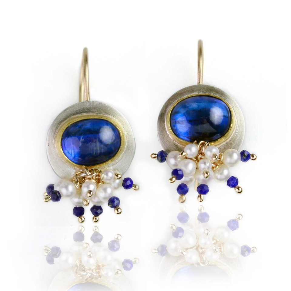Limited edition Kyanite Dangle earrings in Argentium silver with 22k and 14k gold with pearls and lapis are one inch long and a half an inch wide, $690; available online at Fuss Jewelry