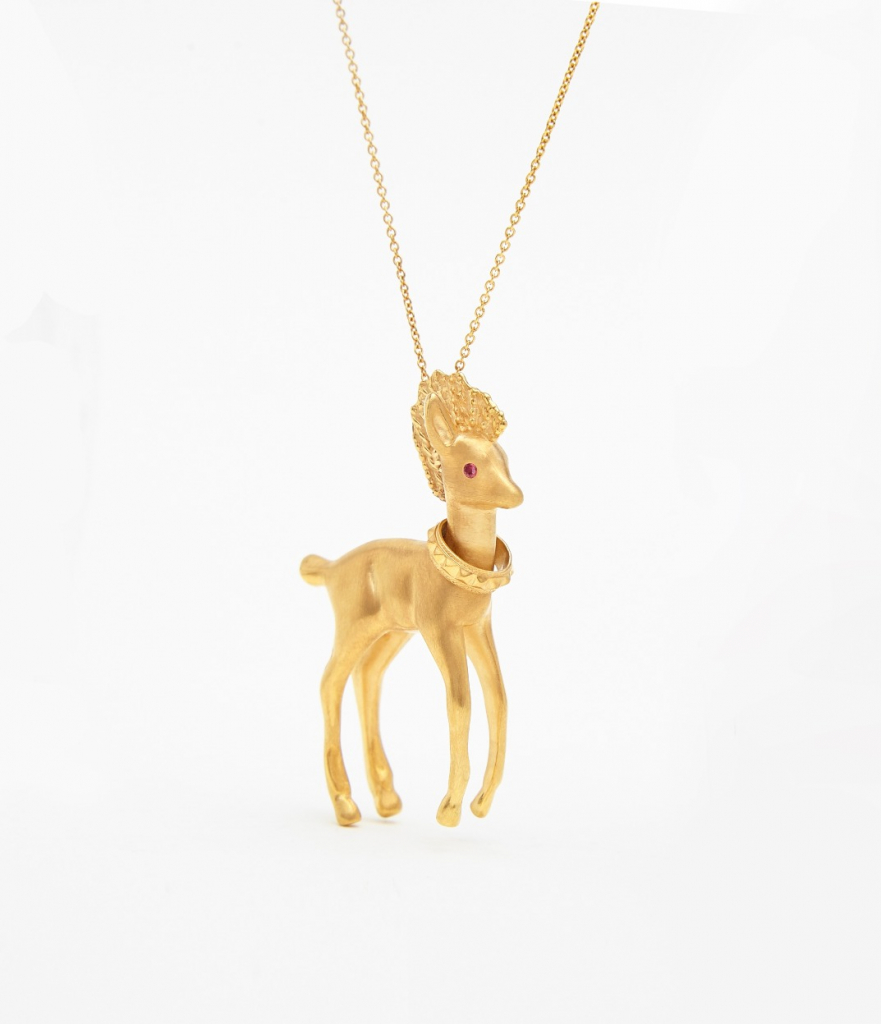 Punk Gold Doe necklace in 18k gold vermeil with pink sapphire eyes, £450; available online at Aurelie Dellasanta Jewellery.