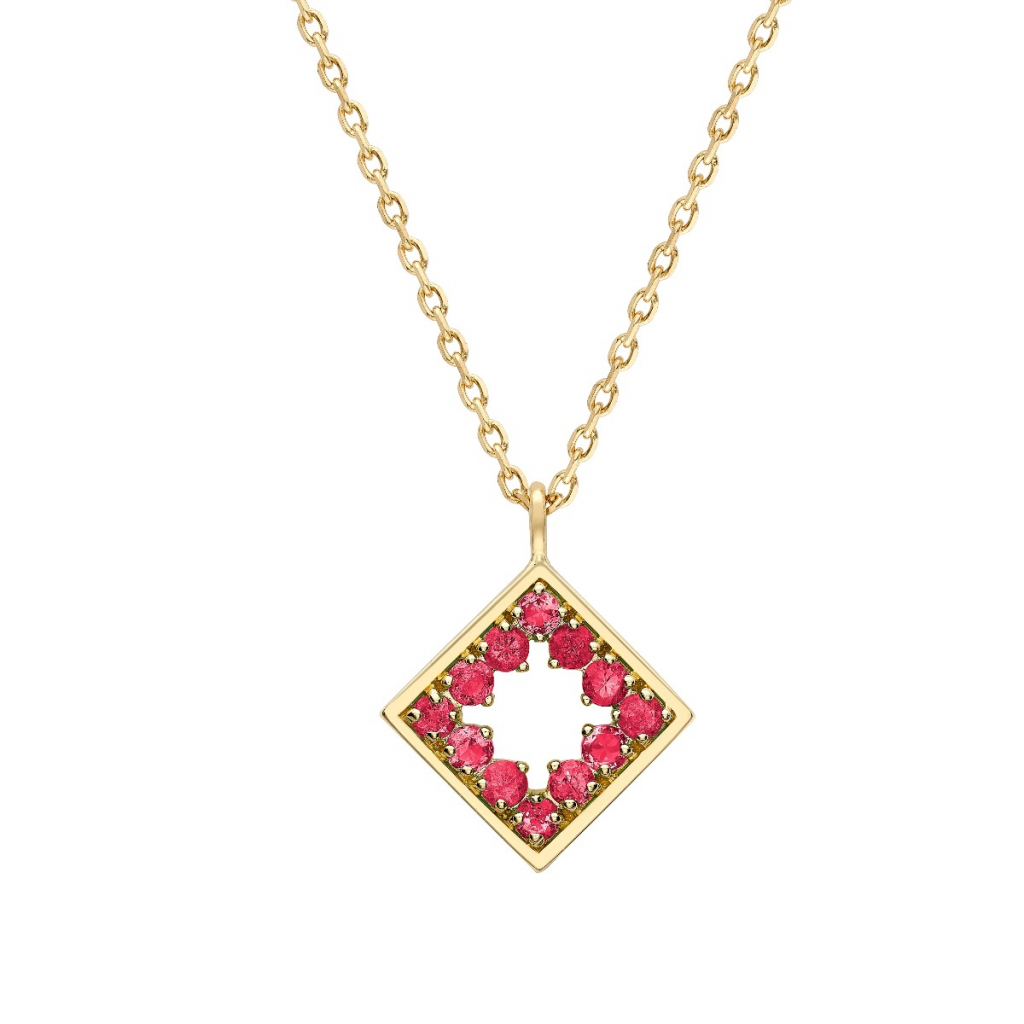 Amelia necklace in 18k yellow gold with rubies from Gemfields, £900