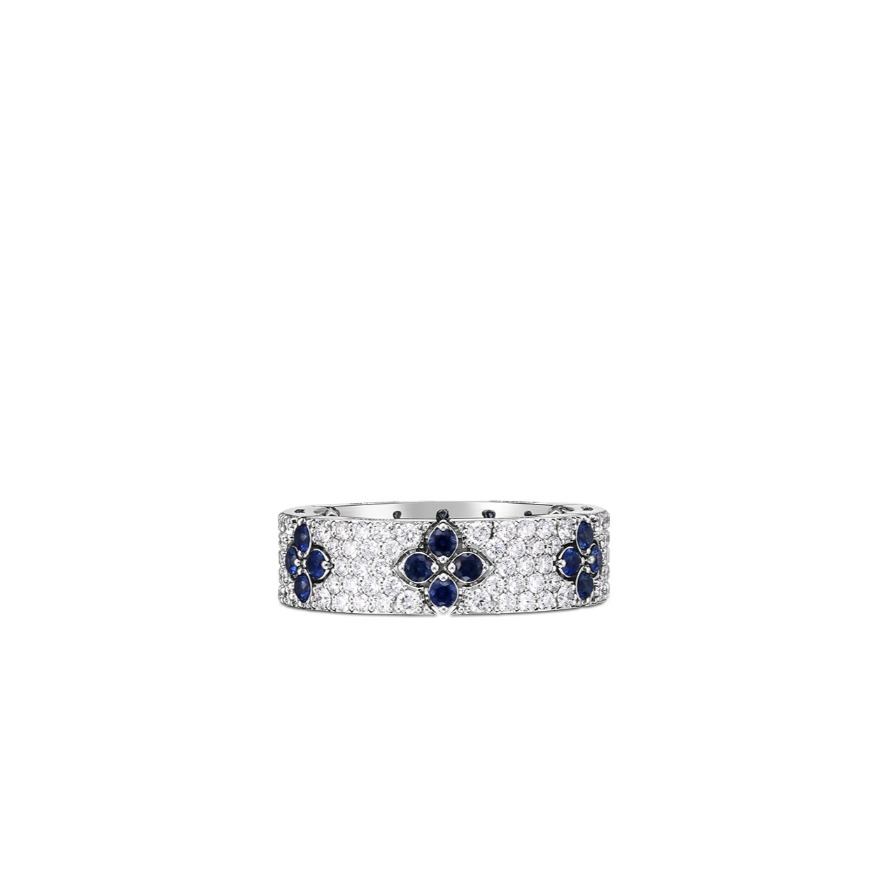 Love in Verona ring in 18k white gold with 0.93 cts. t.w. diamonds and 0.57 cts. t.w. blue sapphires, $6,950; available online at Roberto Coin