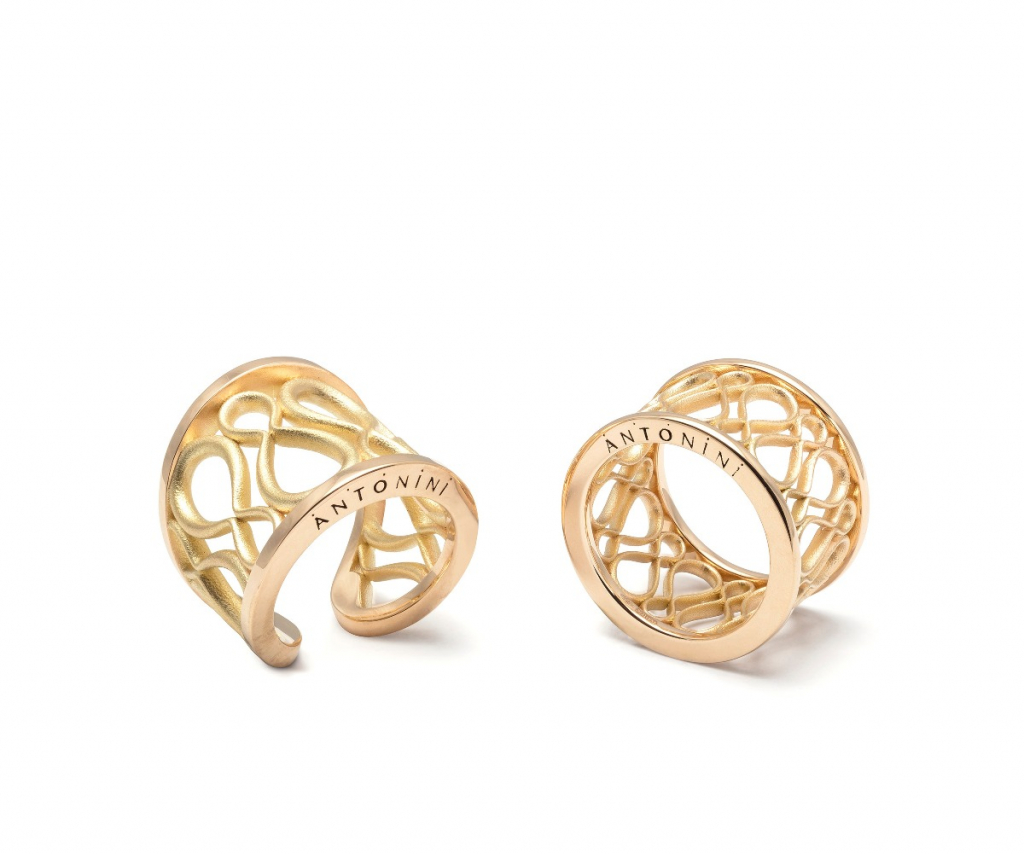 Anniversary 100 rings in 18k gold, $3,440–$4,030; email tatiana.tonizzo@antonini.it for purchase
