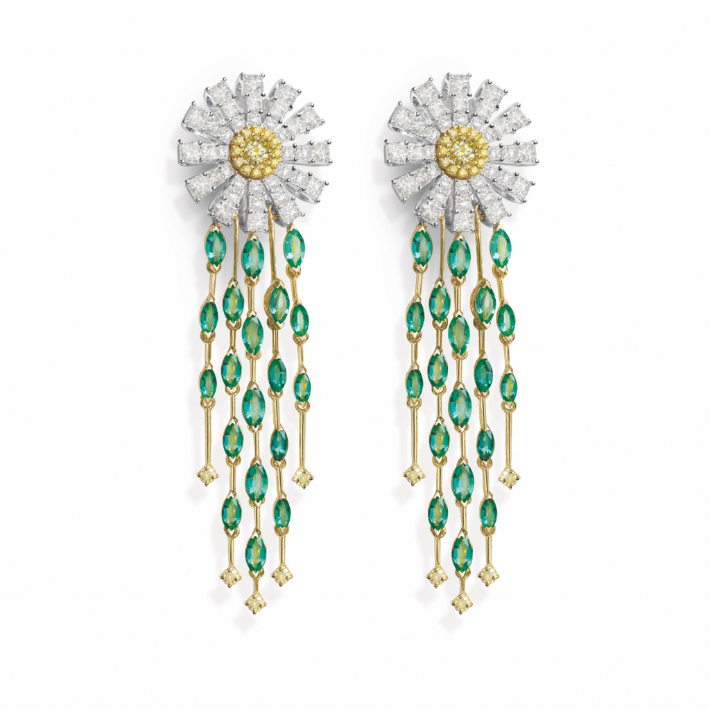 Margherita earrings in 18k white and yellow gold with yellow and colorless diamonds, and emeralds, €55,000; email giancarlo.parolini@damiani.com for purchase