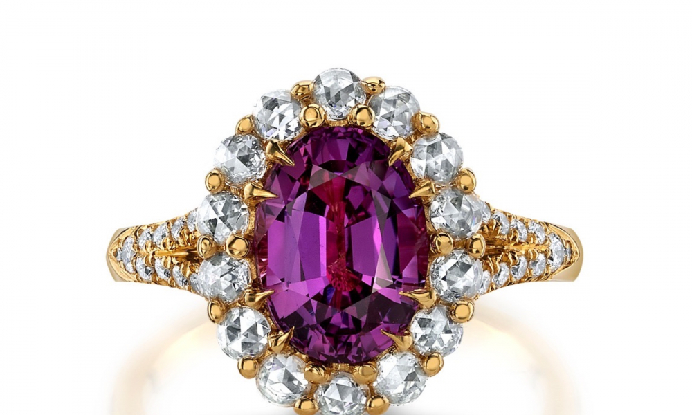 Ring in 18k yellow gold ring with a 3.05 ct. oval pink sapphire, 0.44 ct. t.w. rose-cut diamonds, and 0.18 ct. t.w. round diamonds, $21,600, Omi Privé; email natalie@omigems.com for purchase