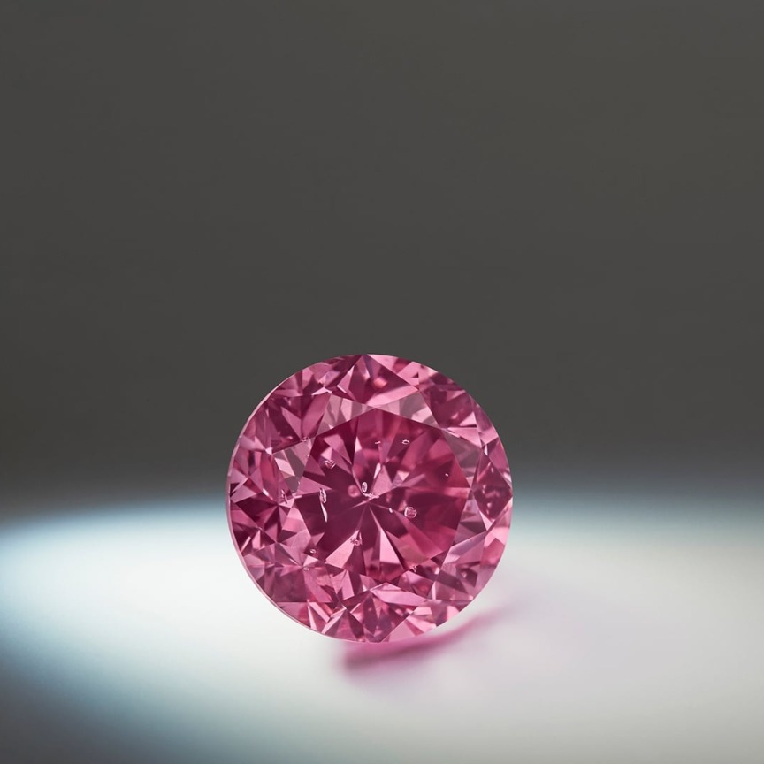 Lot 1: Argyle Eternity, a 2.24 ct. round-brilliant Fancy Vivid Purplish Pink diamond (this stone represents the largest Fancy Vivid round-brilliant diamond ever offered at the Tender)