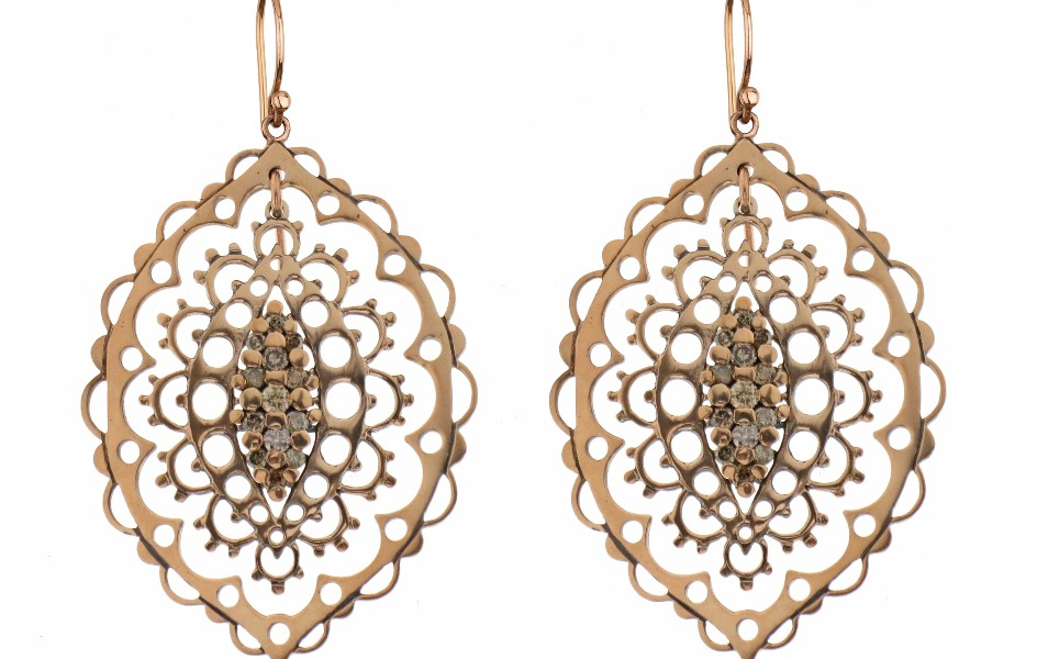 Giudecca earrings in 9k rose gold with hooks in 18k rose gold and brown diamonds, €1,900; email Info@laurentgandini.com for purchase