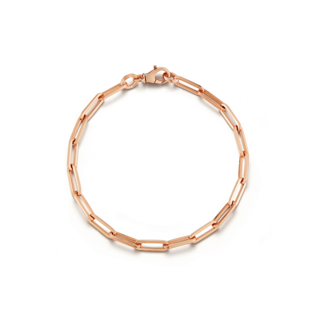Tatum chain bracelet in in 18k rose gold, $2,525; wendy@jadetrau.com for purchase