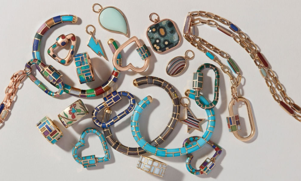 Jewelry Designer: Inlay jewels from Marla Aaron are available for purchase online.