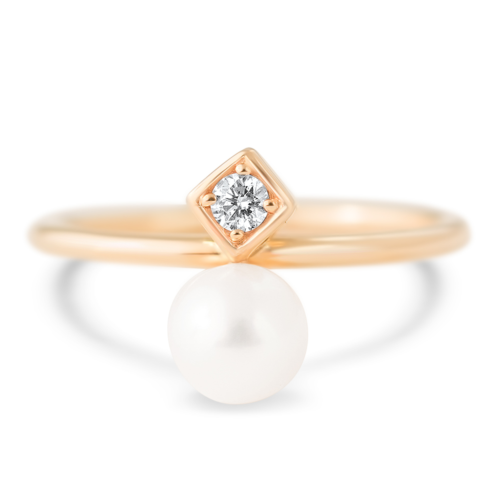 Ring in 14k rose gold with a 4 mm cultured white freshwater pearl and a diamond accent, $650; available online at Zales.com
