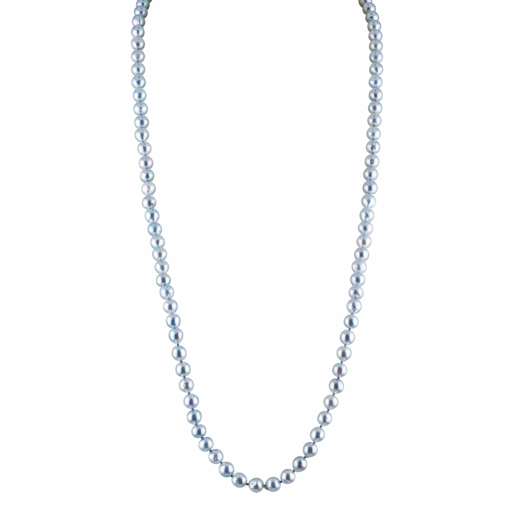 Natural-color blue akoya strands start at $750 triple keystone, Eliko Pearl; email mail@elikopearl.com for purchase