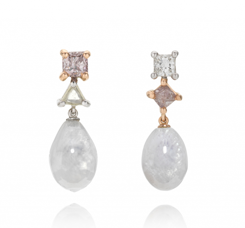Asymmetric drop earrings in 18k white and rose gold with 5.5 cts. t.w. white hippopus pearls and 0.91 cts. t.w. white and purple radiant-cut diamonds, £4,800; available online at Melanie Georgacopoulos